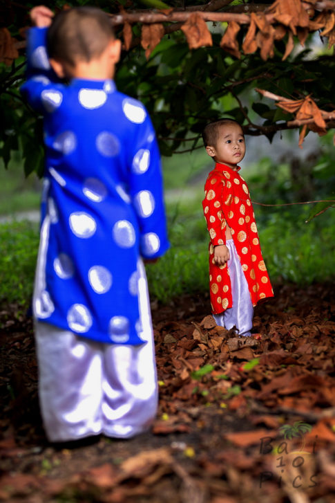 Brothers with traditional clothes Ao Dai - Vietnam