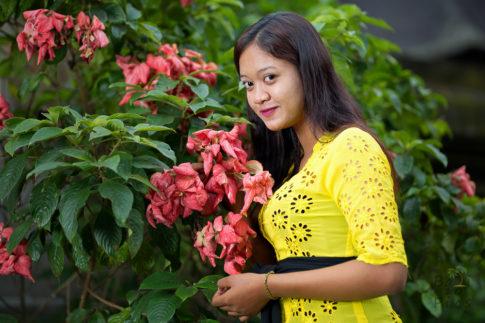 Girl and flower, Tirta Empul - Bali