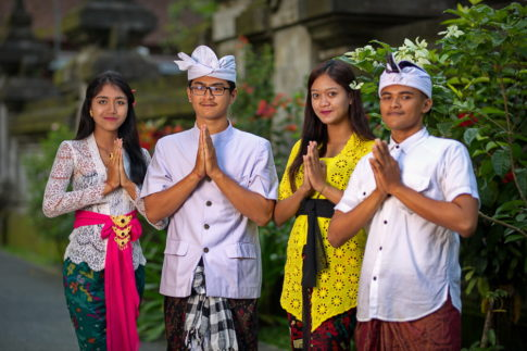 Girls and boys in temple Tirta Empul - Bali