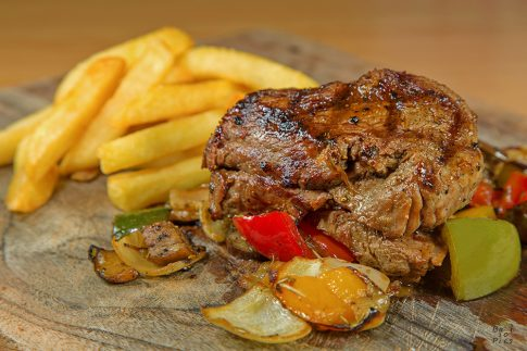 Food photography bali - beef steak with french fries