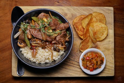 Food photography - beef, rice and ratatouille