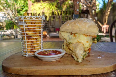 Пилешки бургер с пържени картофи - кулинарна фотография